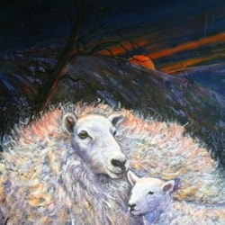 Two sheep, the Moon and Stars