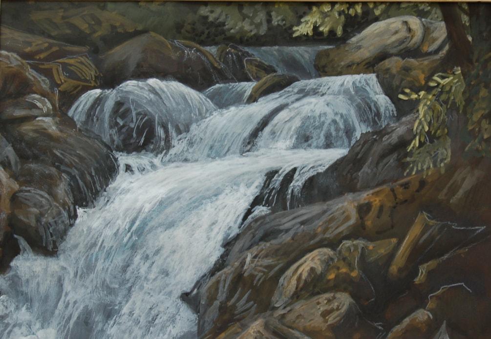 """""""Resurgence waterfall near Takaka""""  in gouache"""