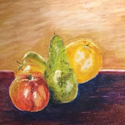 Fruit in oil pastel