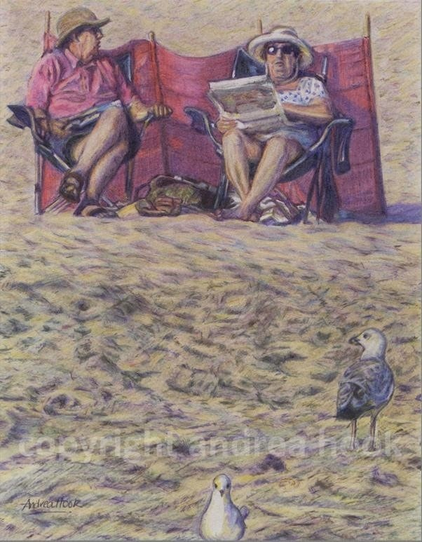 Frank & Honor's Discussion (over a crossword). A pure coloured pencil artwork.