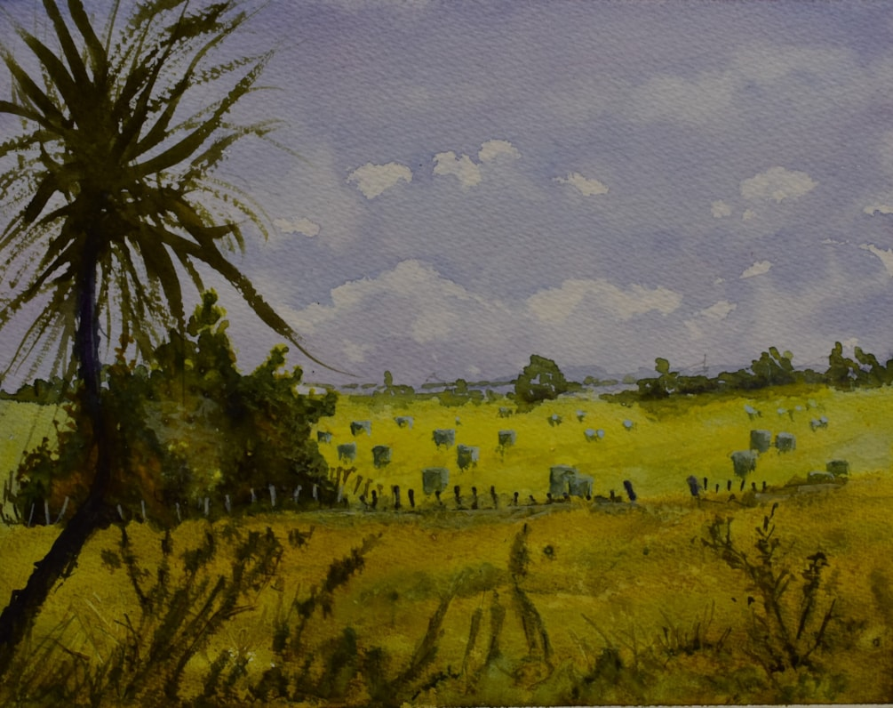 """Haylage"" in watercolour"