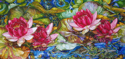 Water lily in pink and bronze