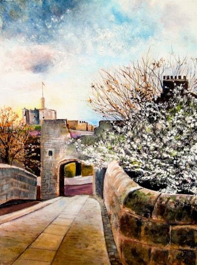 View of Warkworth Castle from  Warkworth's  Ancient Bridge