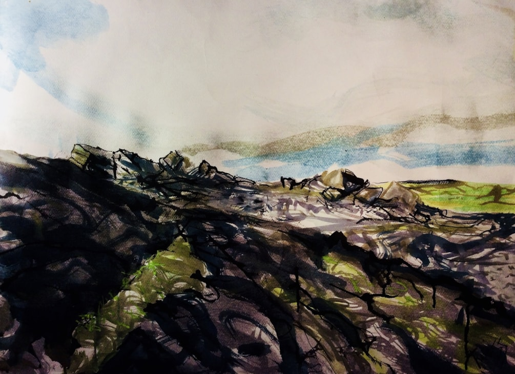 The Roaches after the fire, acrylic ink on 77x57cm watercolour paper