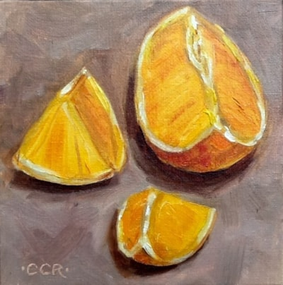 "Orange slices 6"" X 6"" oil on canvas board"