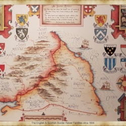 Past Commission 17th century Hand painted map of the borders of Scotland and England