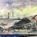 Coal import facility at the port of Dunquerqe, ink on A2