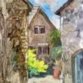 Sunlit courtyard - Plein air