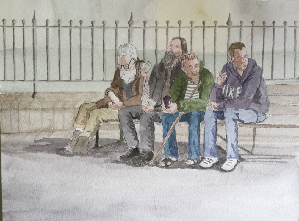 Men on a bench