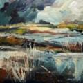 Doxey Marshes towards the Castle - En-plein-air oil sketch.
