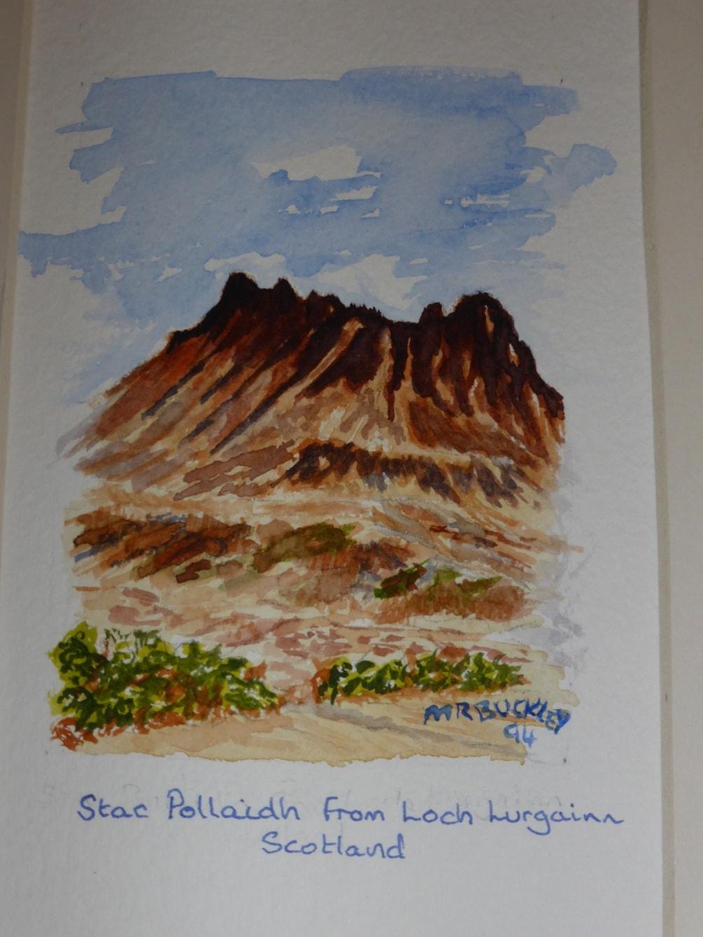 """Stac Pollaidh from Loch Lurgainn.  en plein air watercolour 4x6"""""""