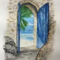 View through blue door 3