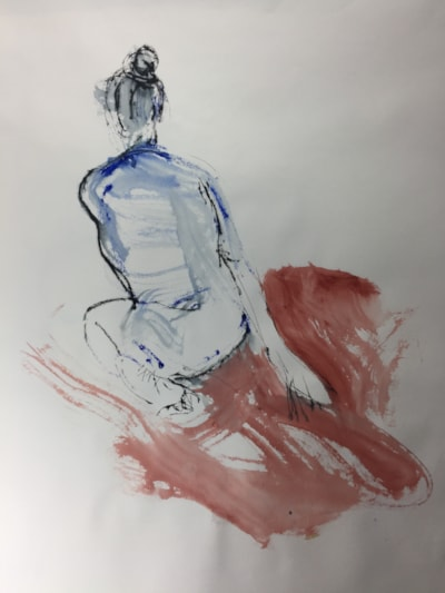 Life drawing today, ink on A2