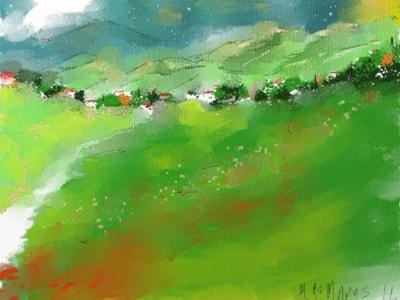Towards Threlkeld Village and Blencathra, near Keswick, Cumbria.