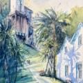 Portmeirion, palm tree shadows. Watercolour 30 x70cm