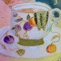 Tiny cup and saucer in the painting I found at a car boot, it must be early 20's or earlier. So pretty.