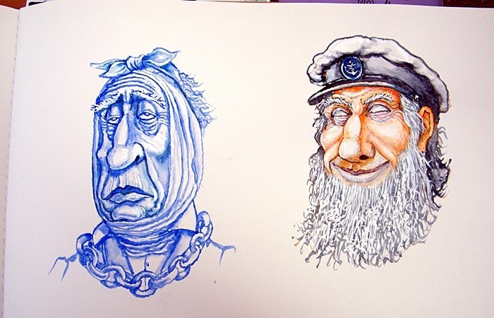 Sketchbook-Jacob Marley and Captain Cat