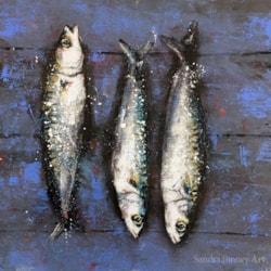 Sardines on wood
