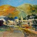 Jalon Church, Spain - En-plein-air oil sketch, 16 x 20in.