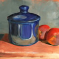 Blue Pot and Two Peaches
