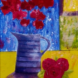 The purple jug with red flowers