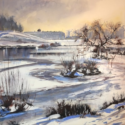 Petworth Park frozen snowy lake