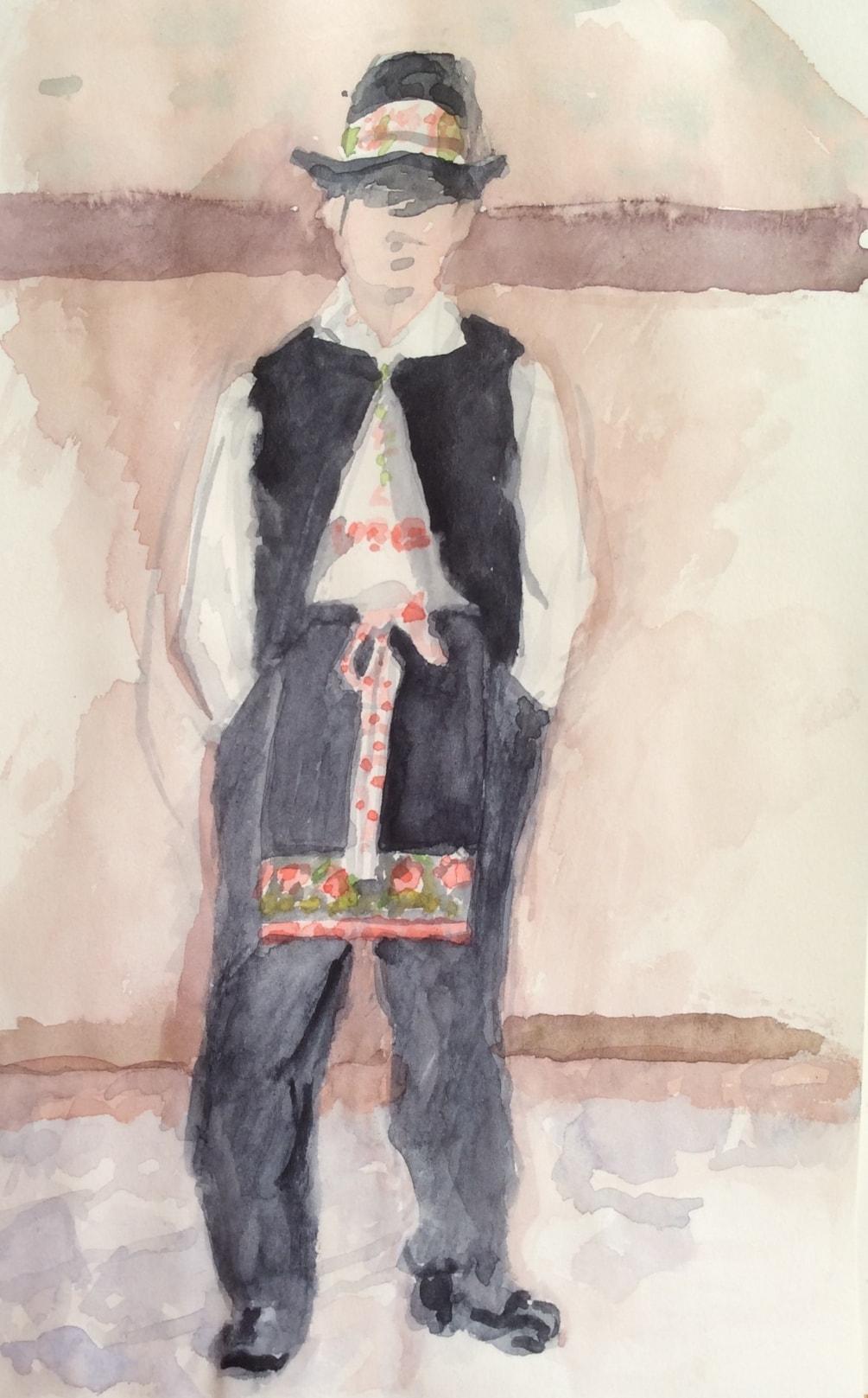 Boy wearing folk costume