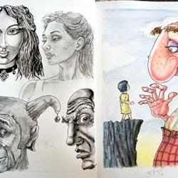 Doodles and the BFG.  A4 sketchbook.