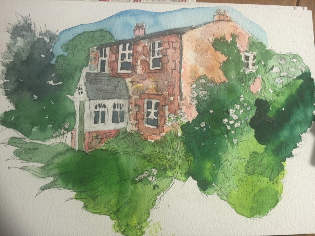 Watercolour version of Tweed cottage