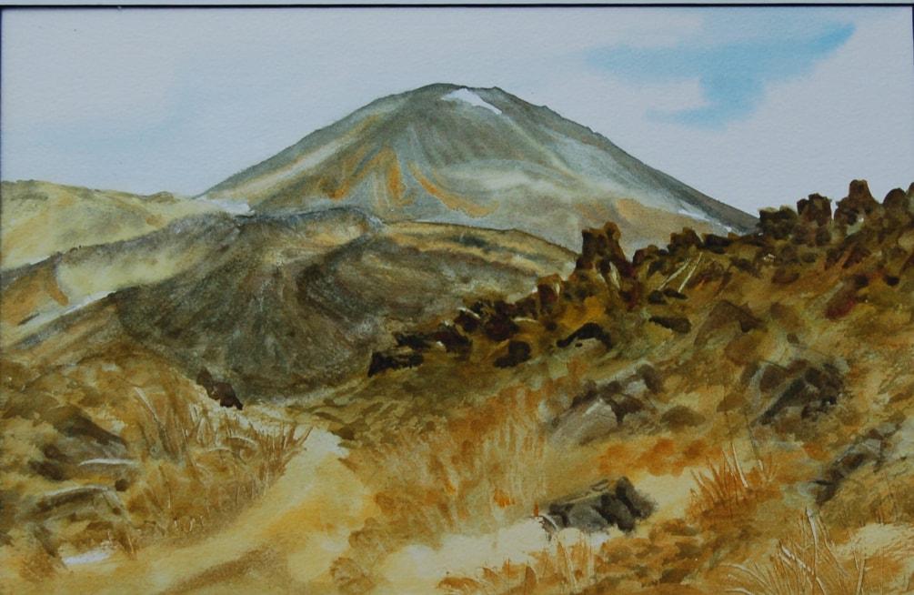 """""""Portrait of a volcano""""  watercolour"""