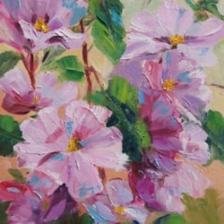 Pink Mallow Oil Painting