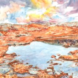 Autumn Lochside in watercolour