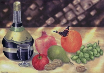Sunlit still life and butterfly