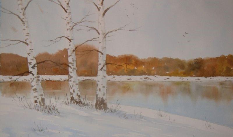 Birches in the Snow, Watercolour version.