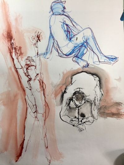 Life drawing class today, Ink on A2
