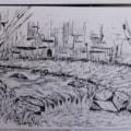 Haltwhistle burn Gorge. pen and ink sketch en plein air
