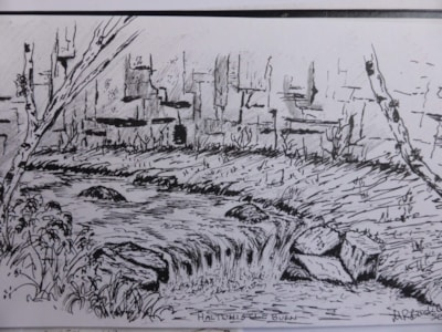 Haltwhistle burn Gorge. pen and ink sketch en plein air