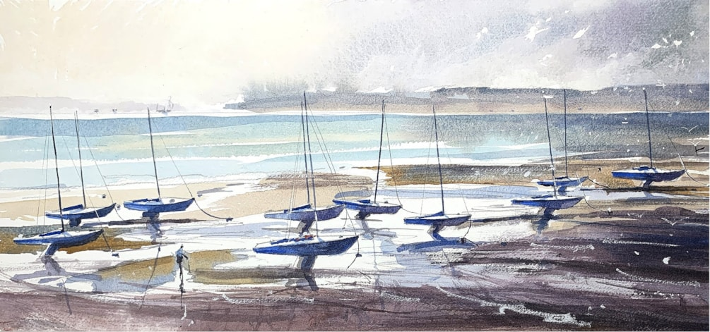 Racing Yachts,watercolour on Millford paper