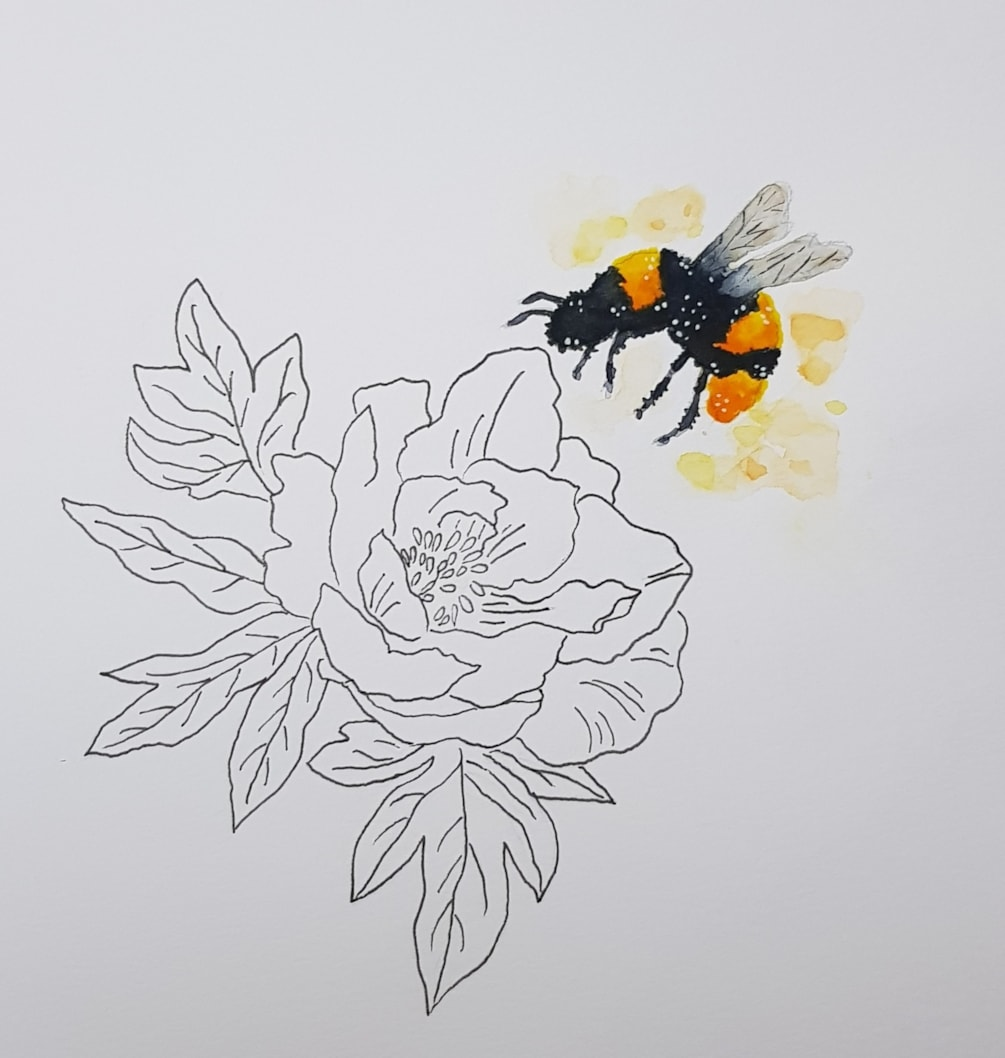 The peony and the bee.