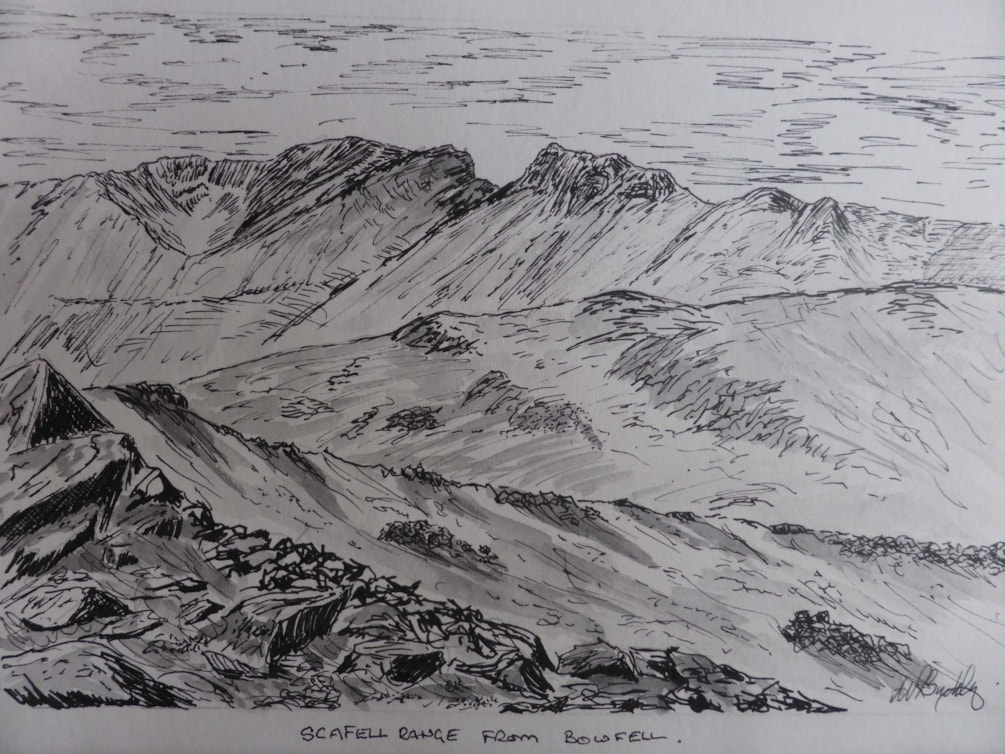 Scafells from Bowfell. sketch pen and ink