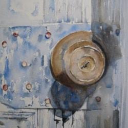 old blue door - door handle
