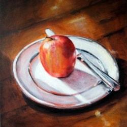 Apple, Plate,Knife