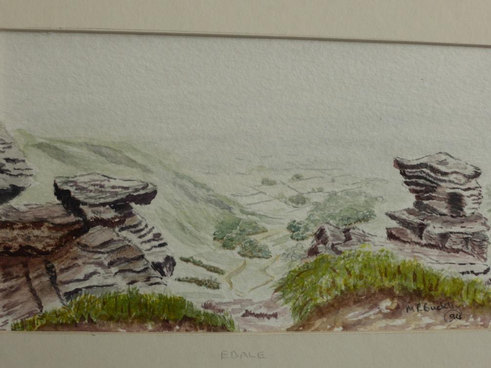 """Edale. watercolour 6x3"""" En plein air"""