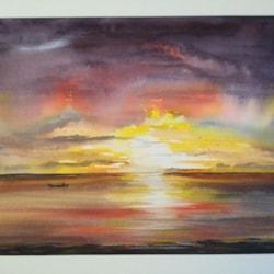 Rowing at sunrise