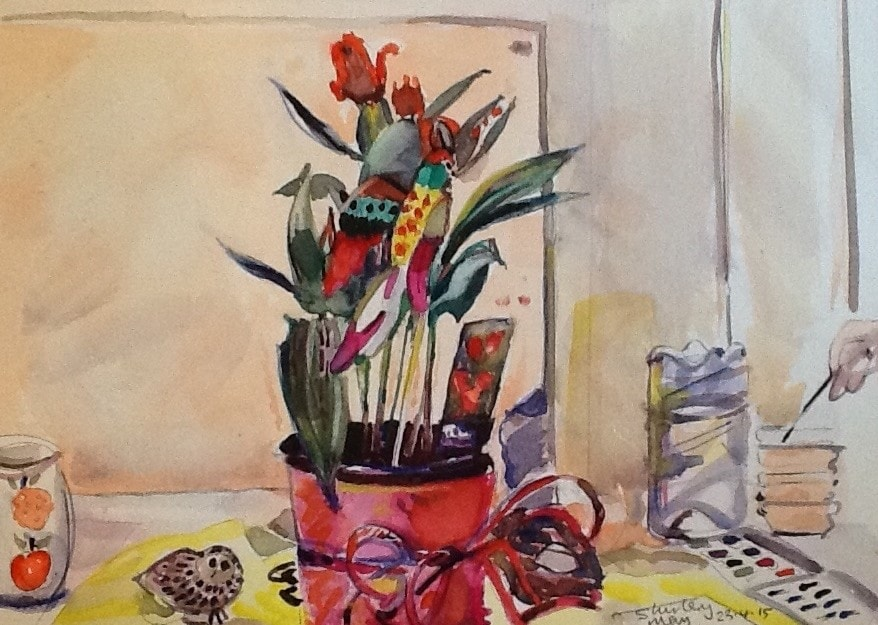 Watercolour of tulips and parrot.