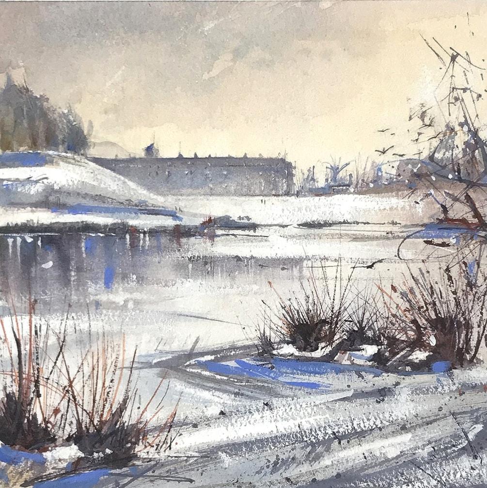 Petworth House Frozen Lake watercolour