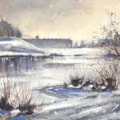 Petworth House Frozen Lake watercolour