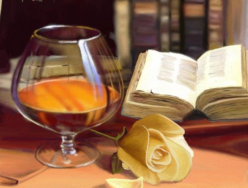 """""""Books,Brandy, & Bloom"""" (An Ode To Dalhart Winberg,Texas Artist & Teacher)"""