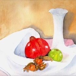 MORE EXOTIC FRUIT WITH WHITE VASE