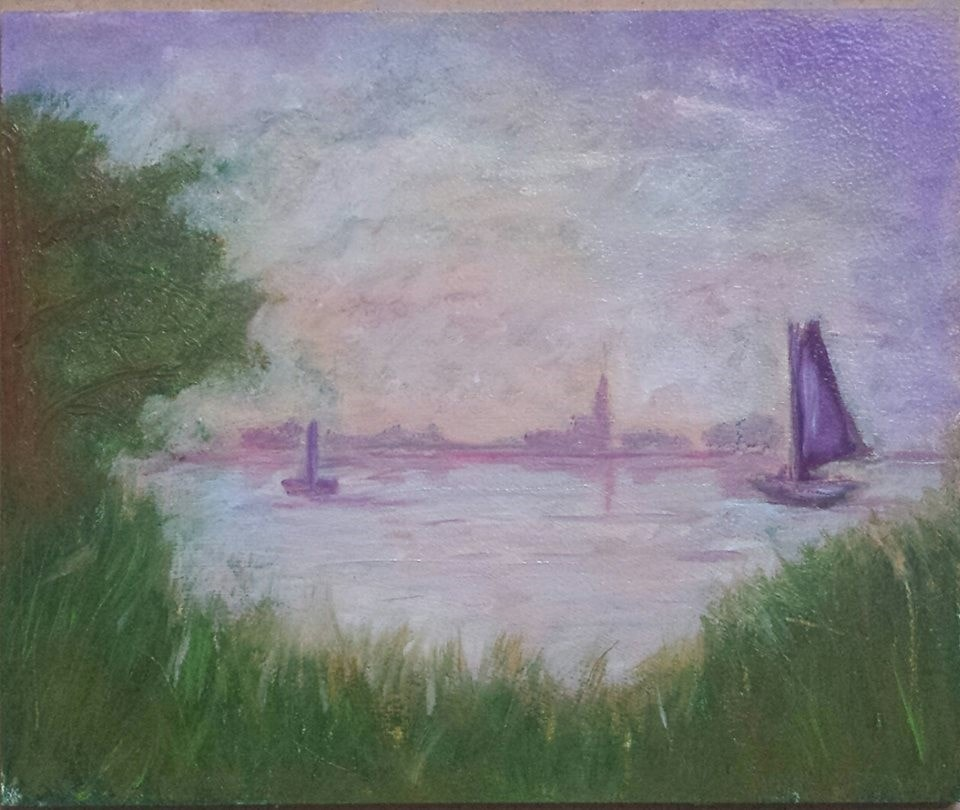 Experimenting with oils and Monet
